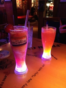 Bubba Gump's at Santa Monica Pier - we got to keep our light up glasses!