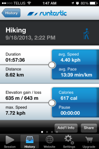 Screenshot of my Runtastic App