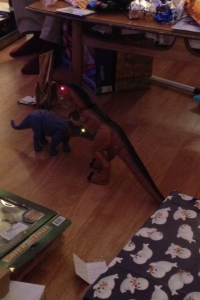 An epic dinosaur battle!