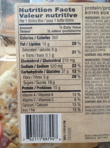 Nutritional info from the Protein Bistro Box from Starbucks