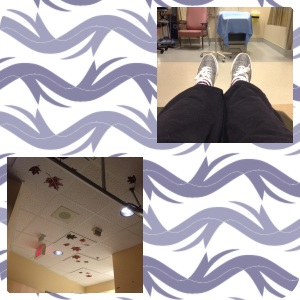 Left: the maple leafs painted on the ceiling of the CT department. Right: me waiting in my chair