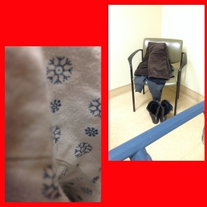 Left: The pattern on my hospital gown Right: My clothes, I reeeeally wanted back in my clothes!