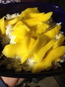 mango on coconut rice, yum!