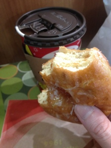 medium steeped tea and a doughnut, classic!