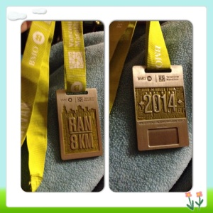 front and back of my medal, there is a spot in the back that will get a chip inserted in to it that shows my time