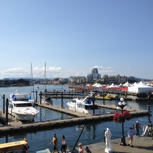 The harbour - those tent tops and the crowds of people are the dragon boat festival.
