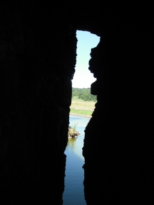View through one of the peep holes/archers spots.