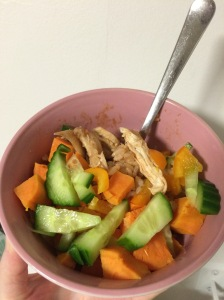 Brown rice, chicken, sweet potato, cucumber, yellow pepper and bbq sauce.